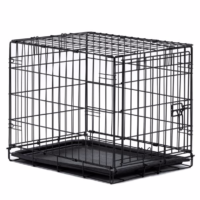 If you need to crate your cat, get a crate like this one, which is big enough to hold a cat and a litter box.