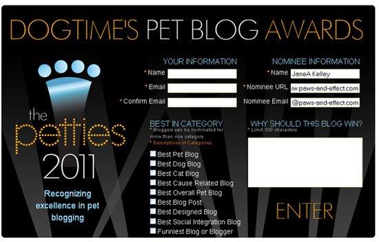 Please Help Us Win A Pettie Award!